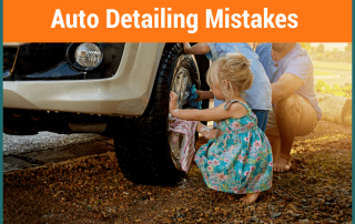 a little girl, a boy and a male is stooping down and washing a car