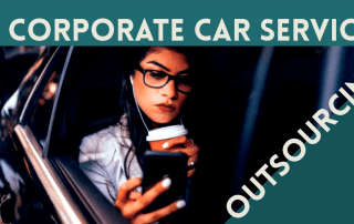 White Female woman sitting in a black car. Drinking coffee, listening to music and watching her phone.