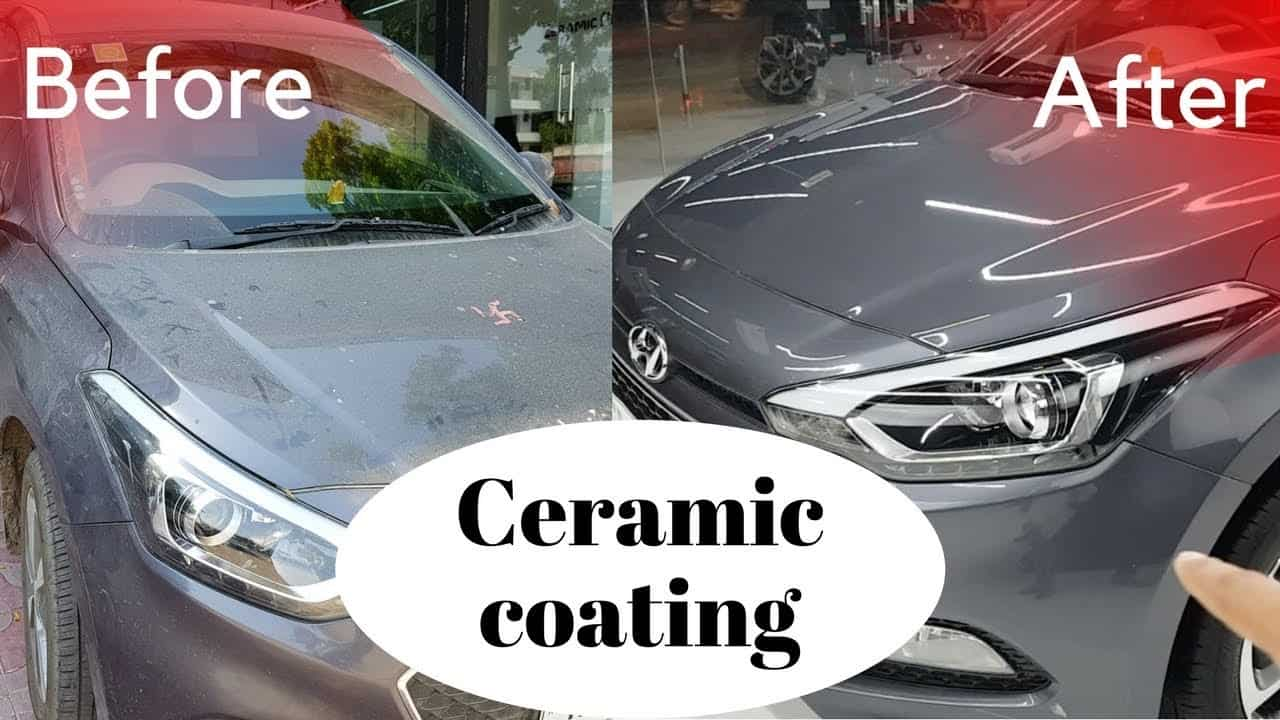 two car being compared before and after applying ceramic coating.