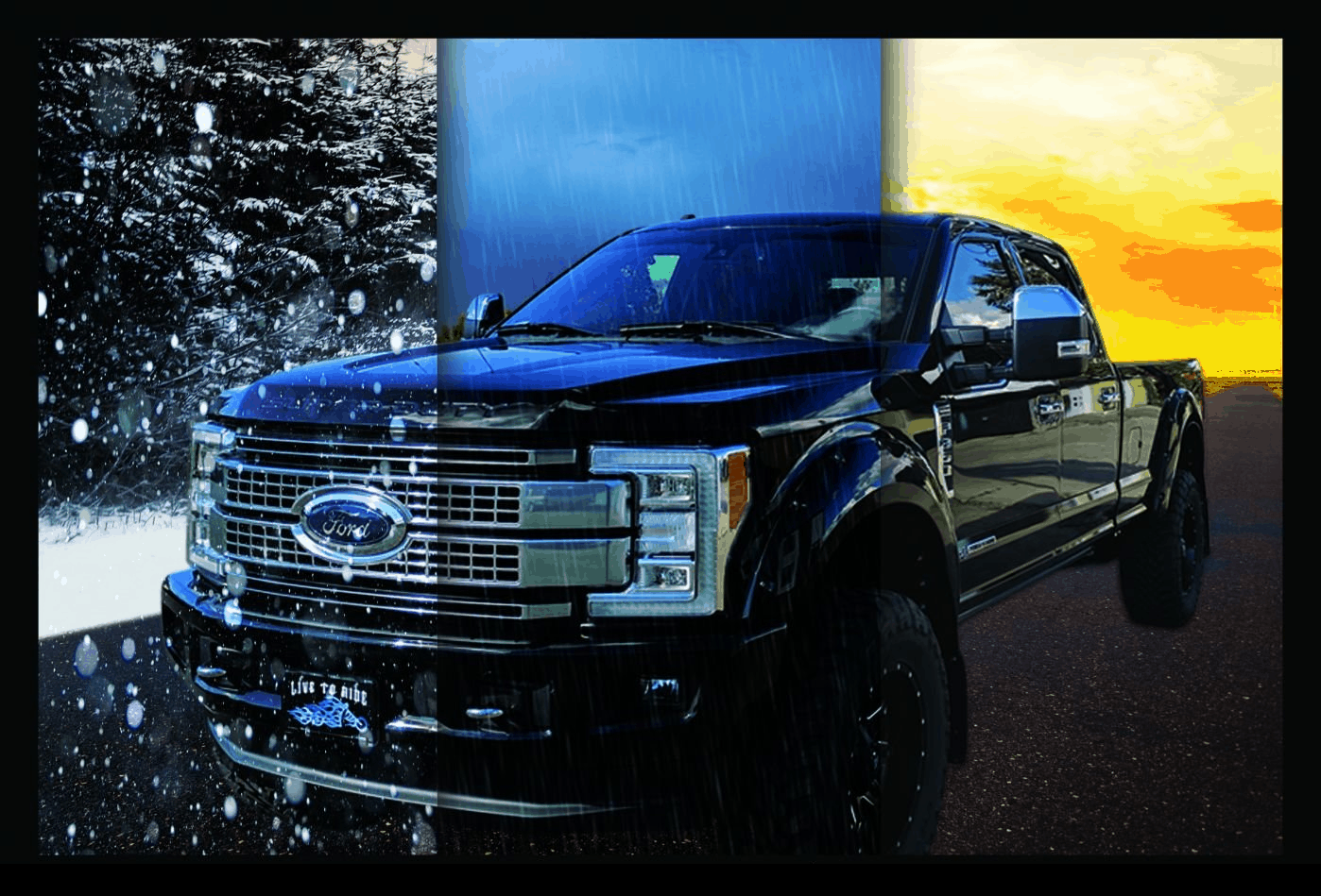 a black pick up vehicle with ceramic coating application in different seasons