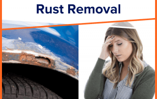 rusty blue car on the left and woman on the right holding head