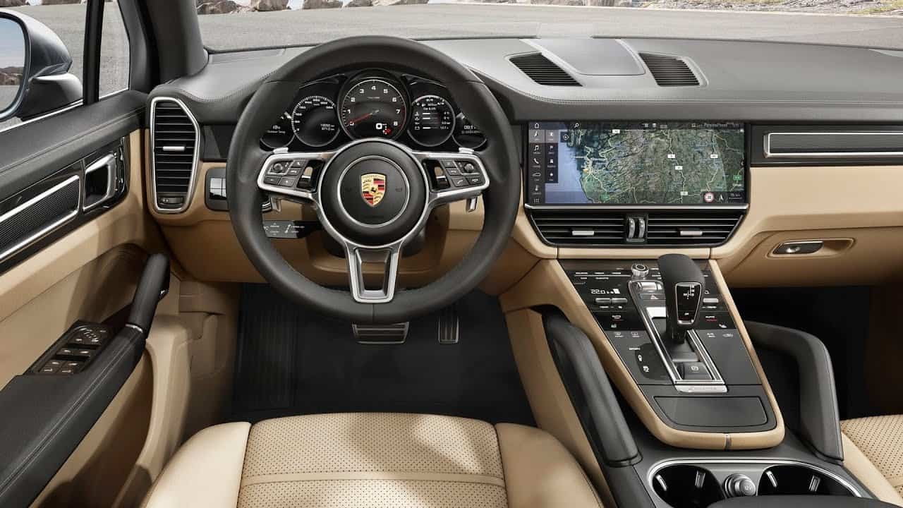 The interior of a Porche vehicle.
