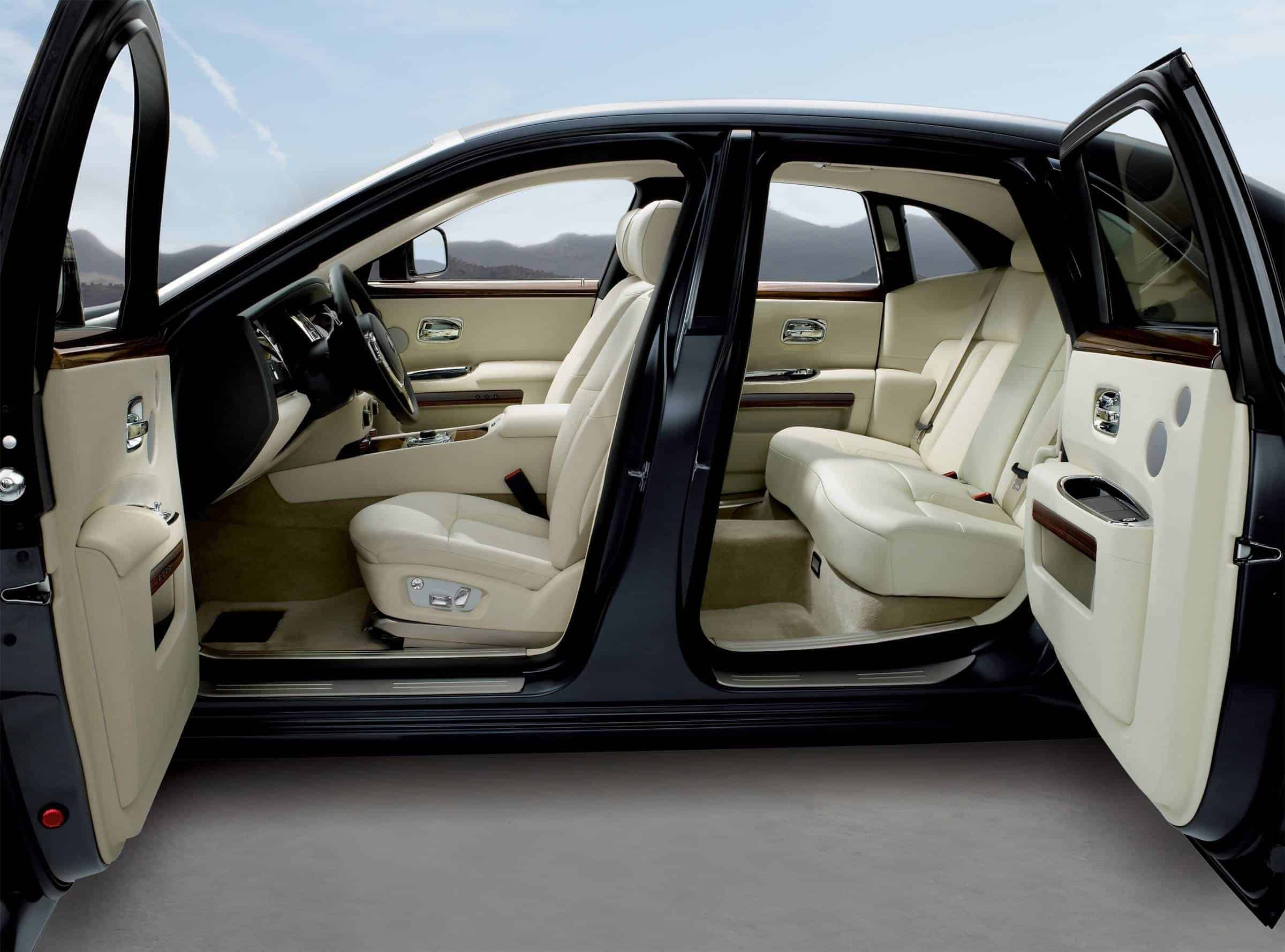 The interior of a Rolls-Royce vehicle.