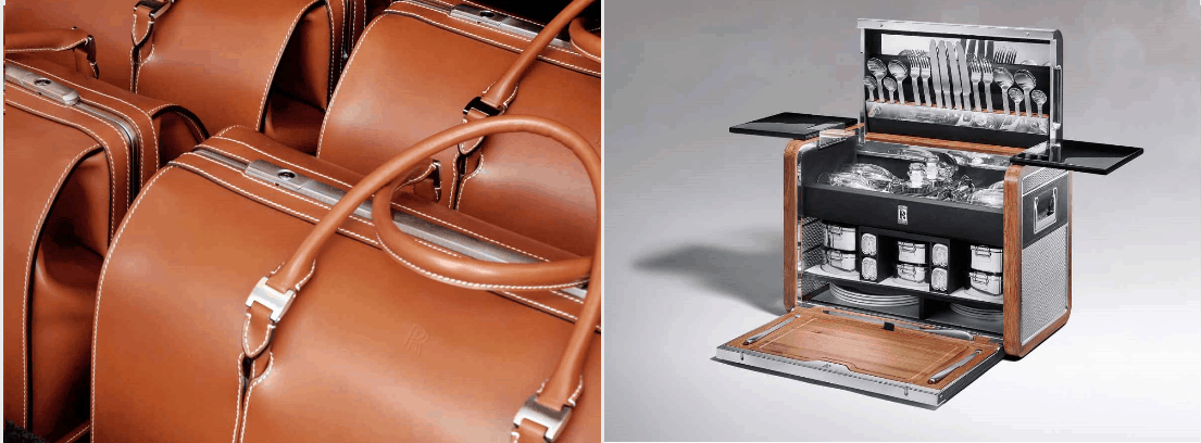 Rolls-Royce accessories - luggage and cutleries